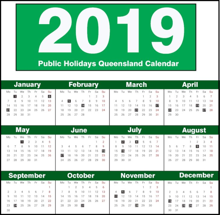 QLD Public Holidays 2019