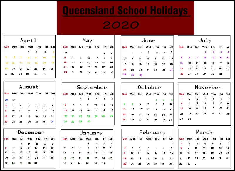 QLD School Holidays 2020